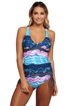 Cali Chic Juniors' Swimsuit Celebrity Summer Waves Cross Back Tankini Ti... - $24.99