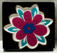 BETSEY JOHNSON Flower Ceramic Dish Catch All Mod Hippie Pink White Blue ... - $12.73
