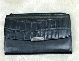 Fossil Black Leather Wallet Clutch Croc Embossed Flap - $19.79