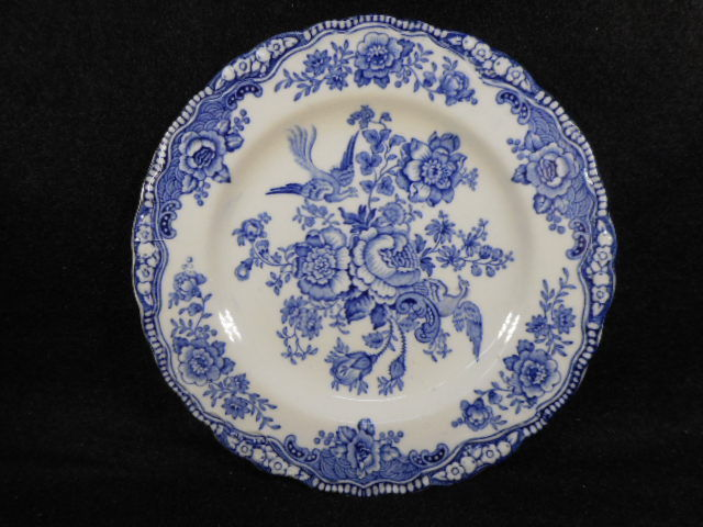 Vintage Bristol Blue Mulberry Crown Ducal English Butter Plate