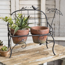 Garden Bench with Terra Cotta Pots - $50.00