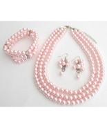 Best Bridal Jewelry Pink Pearls Three Strands Necklace Bracelet Grape Ea... - $29.00