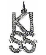 Kiss Shape Vintage Look 925 Sterling Silver 1.05Ct Rose Cut Diamond Pend... - $313.03