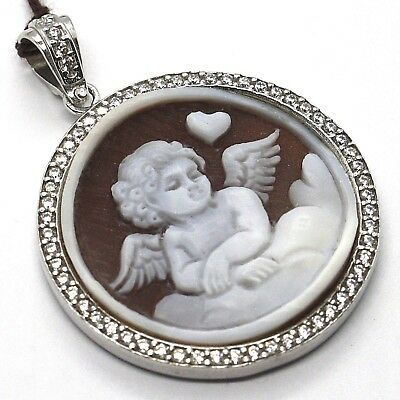 Silver Pendant 925 Cameo Cameo, Angel Engraved by hand, Heart, Cloud, Zircon