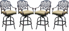Patio bar set Elisabeth outdoor furniture 5pc 1 table and 4 swivel bar stool's. image 2