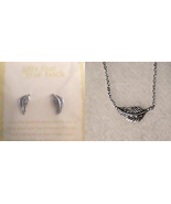 GZ3 Etched silver LUCKY FEATHER charm necklace & matching earrings in gi... - $4.94
