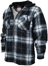 Men's Heavyweight Flannel Zip Up Fleece Lined Plaid Sherpa Hoodie Jacket image 9