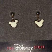 Disney Mickey Mouse Head Ivory ENAMEL/GOLD EARRINGS**RARE/NEW**1 Left!!! - $17.99
