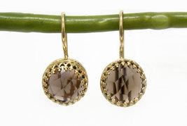 Delicate stud earrings,smoky quartz earrings,gold earrings,gold post ear... - $52.00+