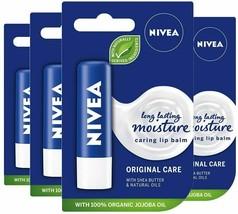 3x Nivea Caring Lip Balm Long Lasting Moisture Original Care with Jojoba... - $8.12