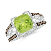 2.31tcw Cushion Natural Peridot Diamond Celtic Knot Cocktail Ring 14k Gold - $1,043.10