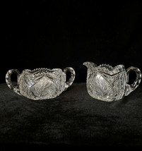 Antique American Brilliant Cut Glass Creamer & Sugar Bowl Set Heavy ABP - $163.61