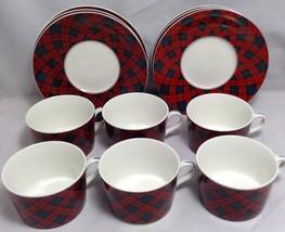 Set of 6 Tartan Plaid Christmas China Arita Sasaki Charles Roberts Cups ... - $64.35