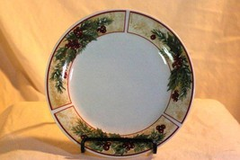Gibson Tan Band Holly Leaves and Berries Christmas Bread Plate - $2.76
