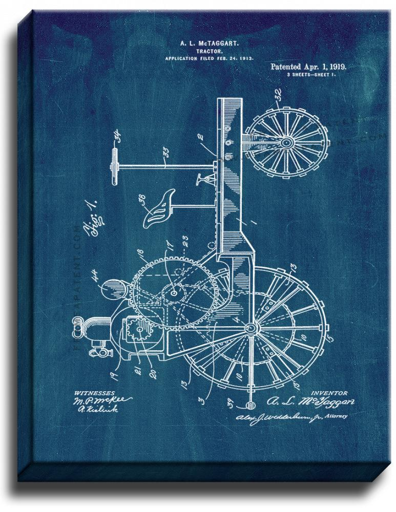 Primary image for Tractor Patent Print Midnight Blue on Canvas