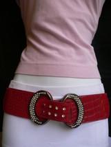 Damen Mode Elastisch Hüfte Taille Stretch Rot West Gürtel Ring Bling Sch... - $25.46