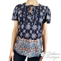 LUCKY BRAND Women's Printed Navy Tie Front Blouse XL Cotton Blend NWT!! - £52.74 GBP