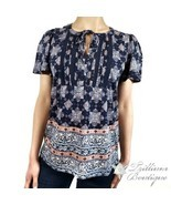 LUCKY BRAND Women's Printed Navy Tie Front Blouse XL Cotton Blend NWT!! - $69.27