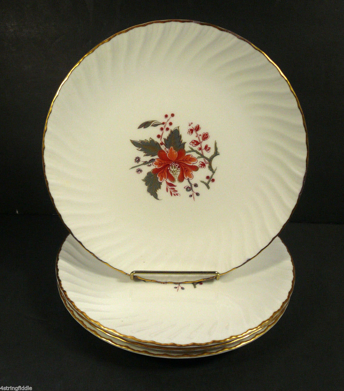 "Set of 4 Royal Worcester LYNBROOK 8"" Salad Plates 1964 Fine Bone China England"