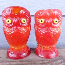 "NOS 3.5"" RED ORANGE Slag Geraldine Glass OWLS Open Sugar Creamer Imperia... - $27.77"