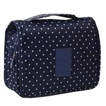Deep Blue Polka Dot Cosmetic Foldable Storage Bag Handbag