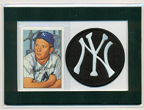 Mickey Mantle 1952 Bowman Reprint #101 and Embroidered Patch Matted - Ready for