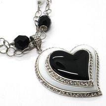 Collier Argent 925, Onyx Noir ,Agate Blanc, Cœur Pendentif, Chaîne Deux Rangées image 3