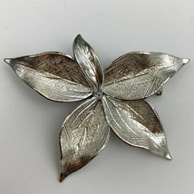 Silver Tone Leaf Brooch Pin Vintage Textured Shiny Floral - $14.80