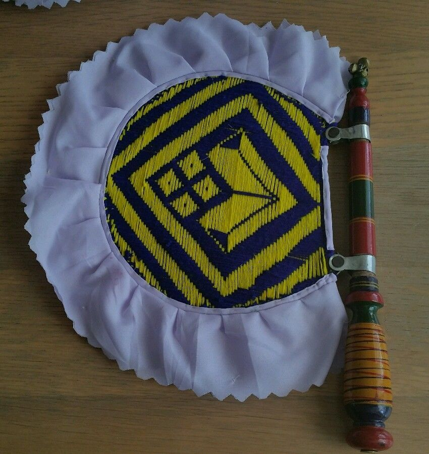 Authentic Punjabi Traditional Pakhi handmade carved wooden paintwork woven fan E