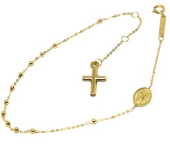 Mini Armband Gelbgold 18k 750, Rosenkranz, Überqueren, Medaille Ideales,... - $169.11
