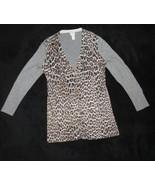 Chico's Size 00 Leopard Print Rhinestone Cardigan Sweater Conventional S... - $18.55