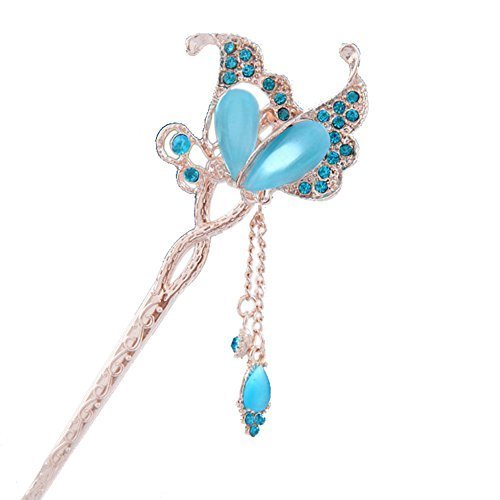 "5.9"" Chinese Traditional Metal Opal Butterfly Ladies/ Girls Hair Stick, BLUE"