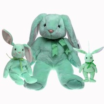 Hippity Mint Bunny Ty Beanie Baby, Buddy and Basket Beanie Set of 3  MWM... - $54.45