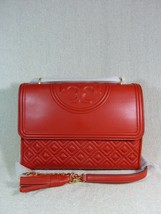 NWT Tory Burch Brilliant Red Leather Fleming Convertible Bag - $473.20