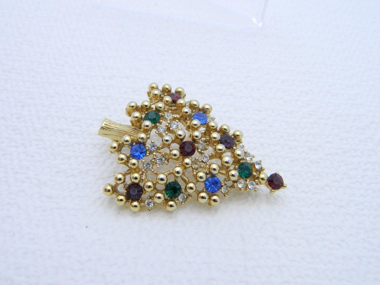 Vintage Gold Tone EISENBERG Multi-Color Rhinestone CHRISTMAS TREE Brooch Pin