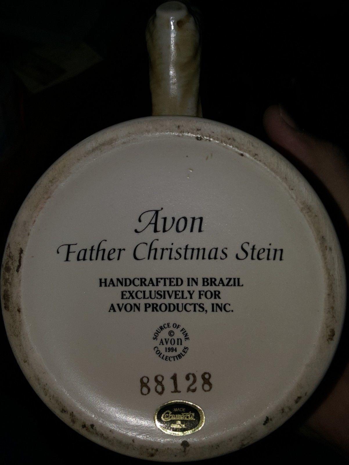 "1994 AVON Father Christmas Santa Stein Beer Mug 9 1/2"" BRAZIL Ceramarte"