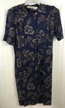Liz Claiborne Women Dress Size 6 Silk button front floral fall leaves bl... - $8.80