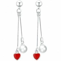 Women Tassel Earring Heart Faux Pearls Drop Pendant Dangle Jewelry Birth... - $9.89
