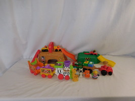 Little People Wheelies Play n Go Construction Site fisher price + Zoo Train + Tr - $33.01