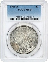 1921-S $1 PCGS MS64 - Popular Final Year S-Mint Morgan - Morgan Silver D... - $140.65