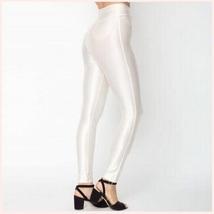 High Waist Satin Metallic White Neon Zip Up Skin Tight Legging Pencil Pants image 2