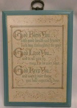 Hallmark Plaque 1977, DE6012, God Bless You, God Love You, God Keep You... - $18.55