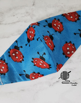 Kids Face Mask Red Ladybug Blue Cotton Fabric Double Layer Washable Hand... - $13.50