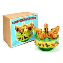 """TIN TOY PECKING CHICKENS 4"""" Wind Up Carousel NEW Vintage Style Collectib... - $28.95"""