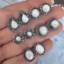 Jewdy® 5 Pairs/Set Big Opal Stud Earrings For Women Wedding Party Boucle - $5.08