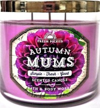 Bath & Body Works FRESH PICKED AUTUMN MUMS 3-Wick 14.5 oz Scented Large ... - €22,13 EUR