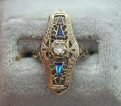 14K Gold Cocktail Ring with .15ct Diamond and Synthetic Sapphires (#J823) - $450.00