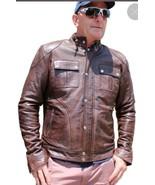 New Men Cafe Racer Moto Biker Distressed Brown Vintage Real Leather Jacket - $99.99
