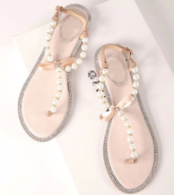 Ivory Bridal Flat Sandals Shoes Women's Wedding Sandal Shoes US 5,6,7,8,... - £30.95 GBP
