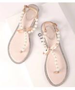 Ivory Bridal Flat Sandals Shoes Women's Wedding Sandal Shoes US 5,6,7,8,... - £30.95 GBP